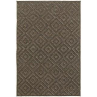 Diamond Plush Brown/ Grey Rug (6' 7 x 9' 6)