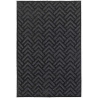 Updated Chevron Textured Navy/ Blue Rug (6' 7 x 9' 6)