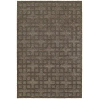 Dimensions Gridwork Brown/ Grey Rug (6' 7 x 9' 6)