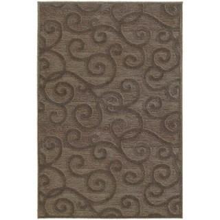 Lush Scrolls Brown/ Grey Rug (6' 7 x 9' 6)