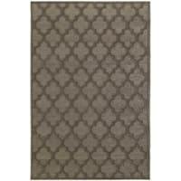 Scalloped Lattice Luxury Brown/ Grey Rug - 5'3 x 7'6