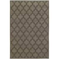 Scalloped Lattice Luxury Brown/ Grey Rug - 6'7 x 9'6