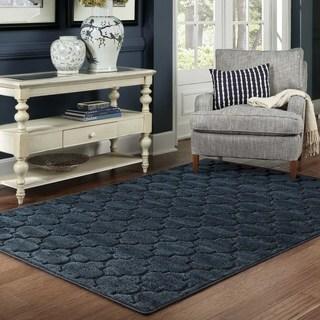 Scalloped Lattice Luxury Navy/ Blue Rug (6' 7 x 9' 6)