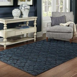Scalloped Lattice Luxury Navy Blue Rug 6 7