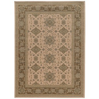 Traditional Border Beige/ Sand Rug (5' 3 x 7' 6)