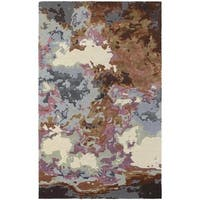 Fluidity Abstract Blue/ Brown Rug - 5' x 8'