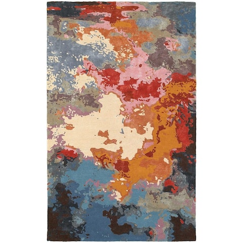 Porch & Den Pescos Essence Abstract Multi/ Pink Rug - 5' x 8'