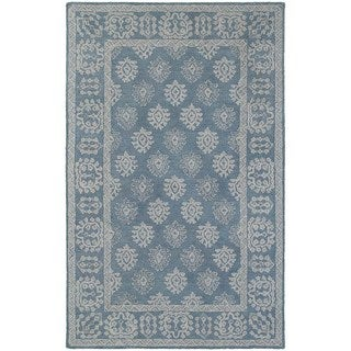 Bordered Traditional Loop Pile Blue/ Grey Rug (5' x 8')
