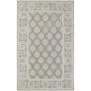 Bordered Traditional Loop Pile Grey/ Beige Rug (5' x 8')