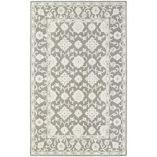 Floral Panel Traditional Loop Pile Grey/ Stone Rug (5' x 8') - 5' x 8'