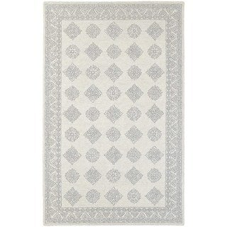 Persian Panel Traditional Loop Pile Grey/ Beige Rug (5' x 8')
