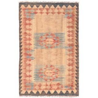 Herat Oriental Afghan Hand-woven Wool Mimana Kilim (2'7 x 4')