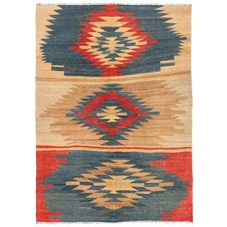 Herat Oriental Afghan Hand-woven Wool Mimana Kilim Rug (4'5 x 6')