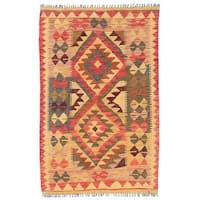 Herat Oriental Afghan Hand-woven Wool Mimana Kilim - 2'10 x 4'6
