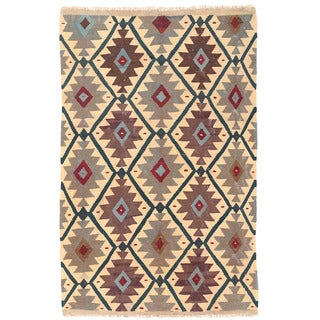 Herat Oriental Afghan Hand-woven Wool Mimana Kilim (3' x 4'9)