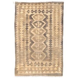 Herat Oriental Afghan Hand-woven Wool Mimana Kilim (3'1 x 4'9)