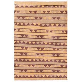 Herat Oriental Afghan Hand-woven Wool Mimana Kilim (3'4 x 4'11)