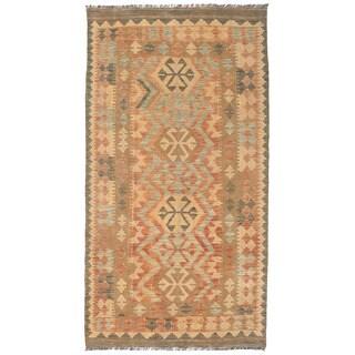 Herat Oriental Afghan Hand-woven Wool Mimana Kilim (3'4 x 6'3)