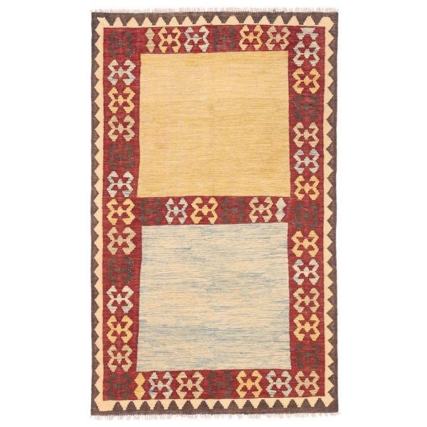 Handmade Herat Oriental Afghan Wool Mimana Kilim (Afghanistan)