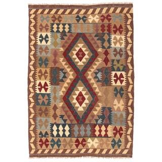Herat Oriental Afghan Hand-woven Wool Mimana Kilim (3'2 x 4'8)