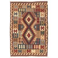 Herat Oriental Afghan Hand-woven Wool Mimana Kilim - 3'2 x 4'8