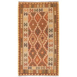 Herat Oriental Afghan Hand-woven Wool Mimana Kilim (3'4 x 6')