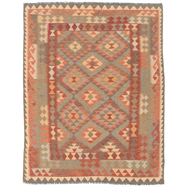 Herat Oriental Afghan Hand-woven Wool Mimana Kilim (4'11 x 6'4)