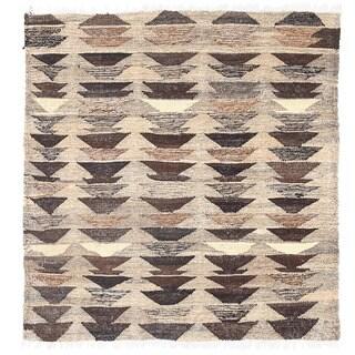 Herat Oriental Afghan Hand-woven Wool Mimana Kilim (2'7 x 2'9)