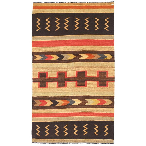 Herat Oriental Afghan Hand-woven Wool Mimana Kilim Rug (5'7 x 9'5) - 5'7 x 9'5