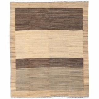 Herat Oriental Afghan Hand-woven Wool Mimana Kilim (7'9 x 9'4)