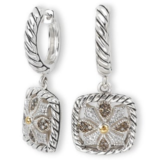Avanti Sterling Silver and 18k Yellow Gold 1/5Ct TDW Brown Diamond Square Dangle Earrings (Brown)