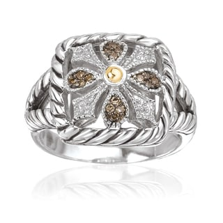 Avanti Sterling Silver and 18k Yellow Gold 1/10ct TDW Brown Diamond Cushion Shape Fashion Ring (Brown, SI2-I1)