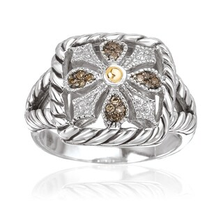 Avanti Sterling Silver and 18k Yellow Gold 1/10ct TDW Brown Diamond Cushion Shape Fashion Ring