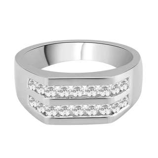 14k White Gold 1ct TDW White Diamond Fashion Men's Ring (G-H,I2)
