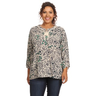 Hadari Women's Plus Size Long Sleeve Round Neck Blouse