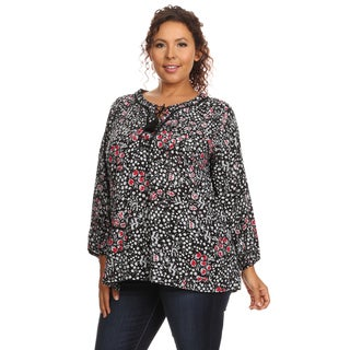 Hadari Women's Plus Size Long Sleeve Round Neck Blouse