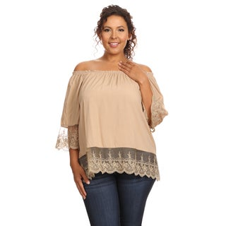 Hadari Women's Plus Size 3/4 Sleeve Off The Shoulder Blouse