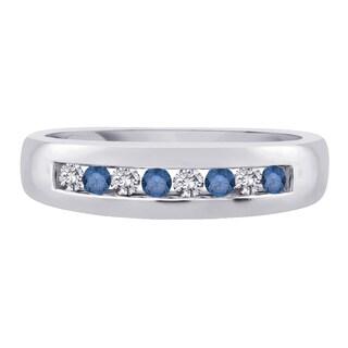 14k White Gold 1/2ct TDW White and Blue Diamond Fashion Men's Ring (G-H, I2)