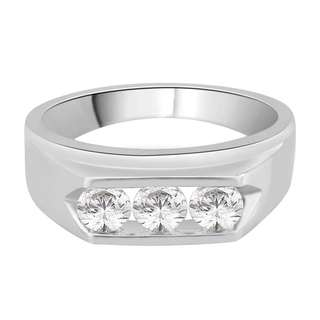14k White Gold 1ct TDW White Diamond Fashion Men's Ring (G-H ,I2)