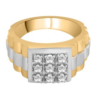 14k Two-Tone Gold 1/2ct TDW White Diamond Fashion Men's Ring (G-H,I2)