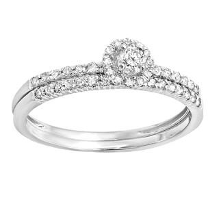 Elora 10k White Gold 1/3ct TDW Round Diamond Halo Bridal Set