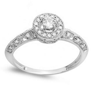 10k White Gold 2/5ct TDW Diamond Vintage Milgrain Engagement Ring (H-I, I1-I2)