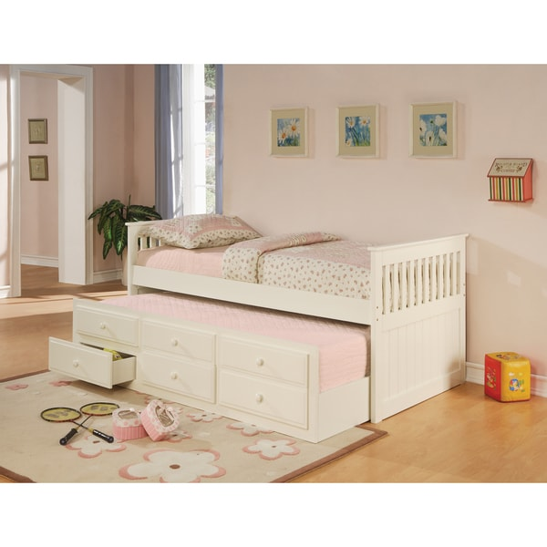Coaster Company White Wood Twin Daybed With Pull Out
