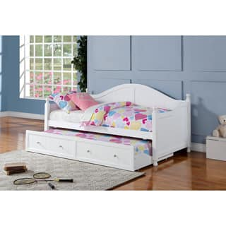 coaster company white wood twin size trundle daybed - Wooden Twin Bed Frame