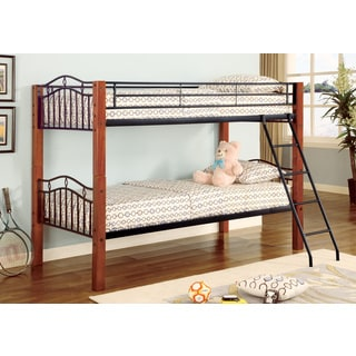 Cherry Wood and Metal Twin Bunk Bed