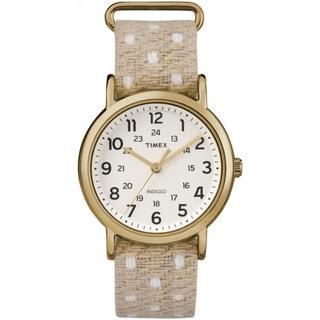 Timex Unisex TW2R105009J Weekender Beige Polka Dot Fabric Over Leather Slip-thru Strap Watch