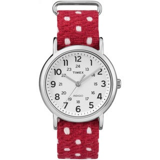 Timex Unisex TW2R104009J Weekender Red Polka Dot Fabric-over-leather Slip-through Strap Watch