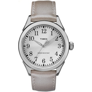 Timex Women's TW2P994009J Briarwood Terrace Silvertone Leather Strap Watch