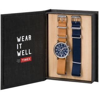 Timex Unisex TWG012800QM Weekender Chronograph Brown Leather Strap Watch Gift Set With Extra Navy Nylon Strap|https://ak1.ostkcdn.com/images/products/12355293/P19182813.jpg?impolicy=medium