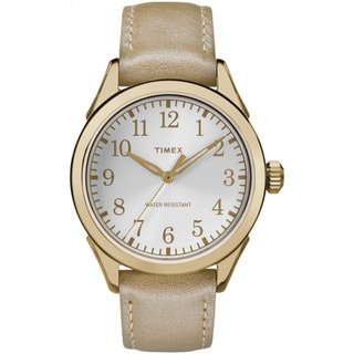 Timex Women's TW2P993009J Briarwood Terrace Light Gold Leather Strap Watch